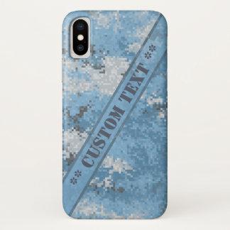 Blaue Digi Camouflage mit kundenspezifischem Text iPhone X Hülle