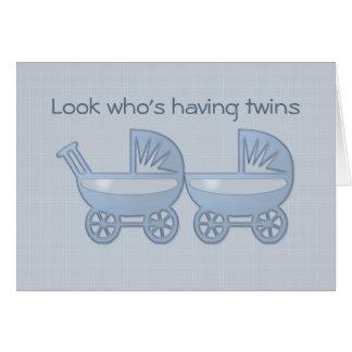 blaue Doppelbaby-Buggy Karte
