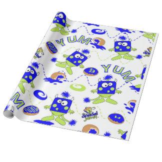 Blaue Dreidel Monster für Hannukah Geschenkpapier
