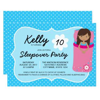 Blaue dunkle Sleepover-Party-Geburtstags-Einladung Karte