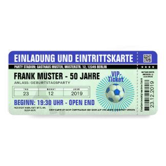 blaue Einladung und Eintrittskarte (Fußballticket)