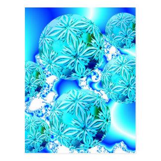 Blaue Eiskristalle, abstraktes Aqua-azurblaue Postkarte