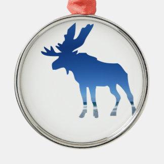 blaue Elche Silbernes Ornament