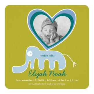 Blaue Elefant-Baby-Jungen-Foto-Geburts-Mitteilung Quadratische 13,3 Cm Einladungskarte