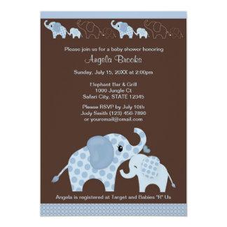 Blaue ELEFANT Babyparty-Einladung CE-B 12,7 X 17,8 Cm Einladungskarte