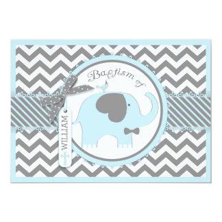 Blaue Elefant-Bogen-Krawatte und Zickzack 12,7 X 17,8 Cm Einladungskarte