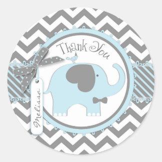 Blaue Elefant Bogen-Krawatte Zickzack Druck danken Runder Aufkleber