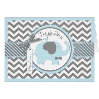 Blaue Elefant-Bogen-Krawatten-Zickzack Druck Karte