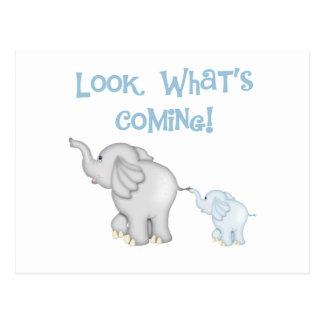 Blaue Elefant-Schwangerschaft Postkarte