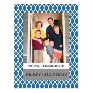 Blaue elegante Gitter-Feiertags-Foto-Postkarte Postkarte