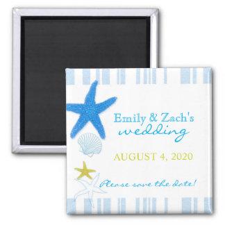 Blaue Eleganz-niedliche Strand-Hochzeit Save the Quadratischer Magnet