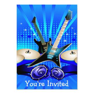 Blaue elektrische Gitarren, Trommeln u. 12,7 X 17,8 Cm Einladungskarte