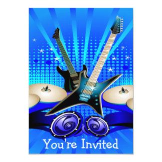 Blaue elektrische Gitarren, Trommeln u.