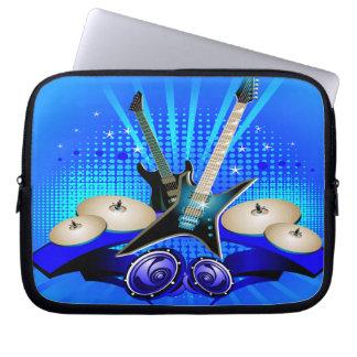 Blaue elektrische Gitarren, Trommeln u. Laptop Sleeve