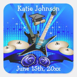 Blaue elektrische Gitarren, Trommeln u. Quadratischer Aufkleber