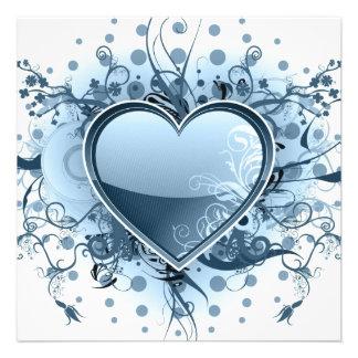 Blaue Emo Herz-Einladungen