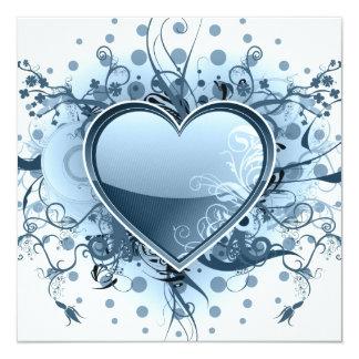 Blaue Emo Herz-Einladungen Quadratische 13,3 Cm Einladungskarte