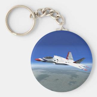 Blaue Engels-Jet-Kämpfer-Flugzeug Keychain des Standard Runder Schlüsselanhänger