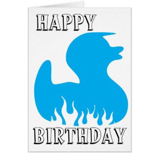 Blaue Ente glücklich, Geburtstag Karte