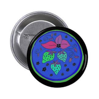 Blaue Erdbeeren Runder Button 5,1 Cm