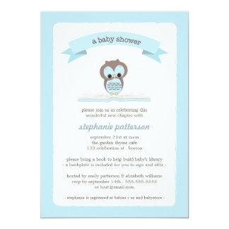 Blaue Eule holen eine Buch-Babyparty-Einladung 12,7 X 17,8 Cm Einladungskarte