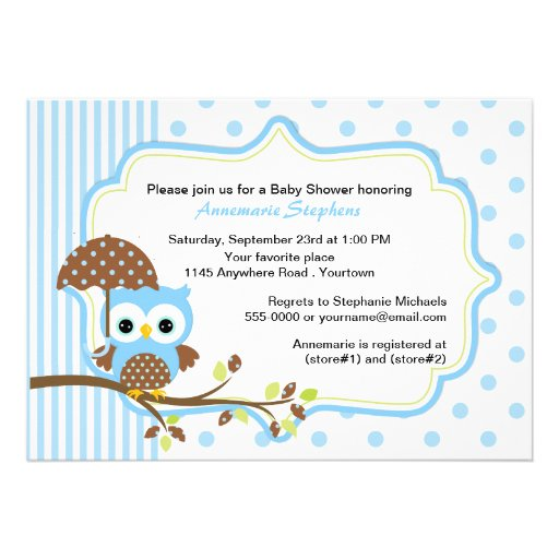 Blaue Eule mit Regenschirm-Jungen-Babyparty Ankündigung