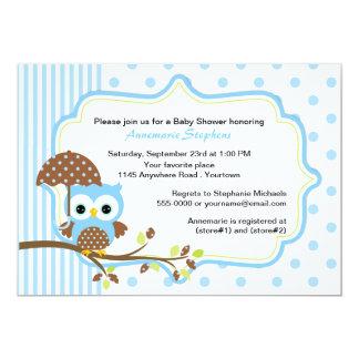Blaue Eule mit Regenschirm-Jungen-Babyparty 12,7 X 17,8 Cm Einladungskarte