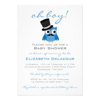 Blaue Eule mit Schnurrbart-Babyparty-Einladung