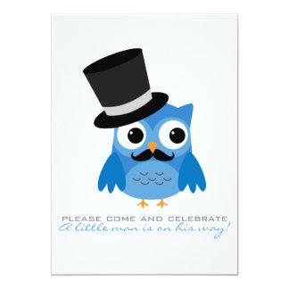 Blaue Eule mit Schnurrbart-Babyparty-Einladung 12,7 X 17,8 Cm Einladungskarte