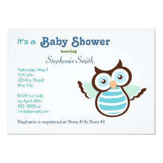 Blaue Eulen-Babyparty 12,7 X 17,8 Cm Einladungskarte
