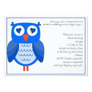Blaue Eulen-Babyparty-Einladung 12,7 X 17,8 Cm Einladungskarte