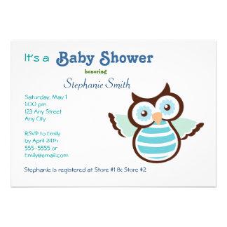 Blaue Eulen-Babyparty Einladungen