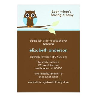 Blaue Eulen-Babyparty-Einladungen 12,7 X 17,8 Cm Einladungskarte