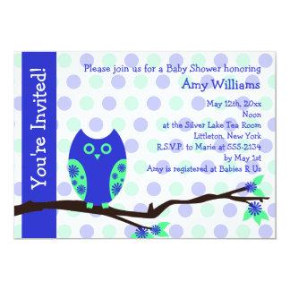 Blaue Eulen-Babyparty-Einladungen (flache Karte)