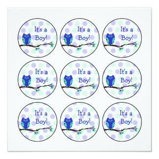 Blaue Eulen-Babyparty-Kuchen-Deckel oder Quadratische 13,3 Cm Einladungskarte