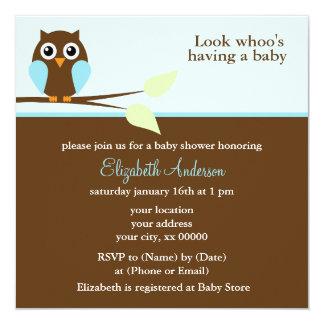 Blaue Eulen-Babyparty Quadratische 13,3 Cm Einladungskarte
