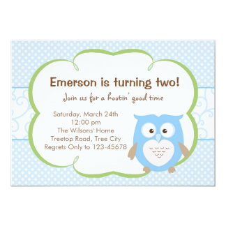 Blaue Eulen-Einladung (Geburtstag/Babyparty)