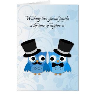 Blaue Eulen homosexuelle Männer die Glückwünsche Grußkarte