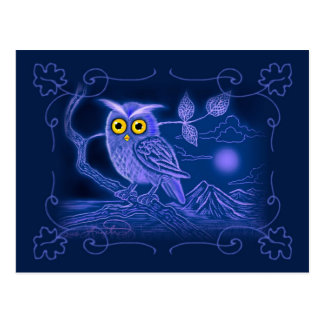Blaue Eulen-Kunst-Postkarte Postkarten