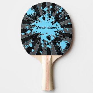 Blaue Farben-Spritzer Schwarzes und Grau Tischtennis Schläger