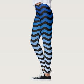 Blaue Farbgewellter Streifen-Dekor an Leggings