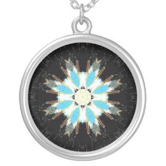 blaue Feder Sternexplosion Versilberte Kette