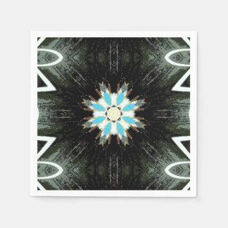 blaue Federn Sternexplosion geometrisch Papierserviette