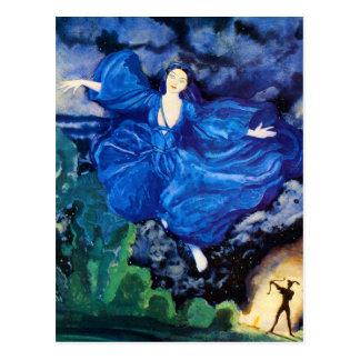 Blaue feenhafte Postkarte