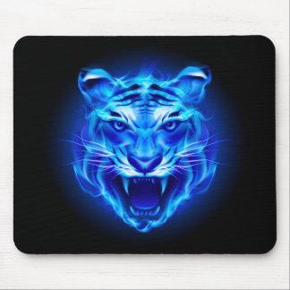 Blaue Feuer-Tiger-Gesichts-Mausunterlage Mousepad