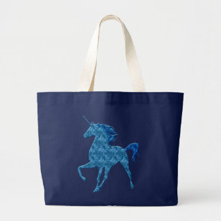 Blaue Feuerunicorn-Taschen-Tasche Jumbo Stoffbeutel