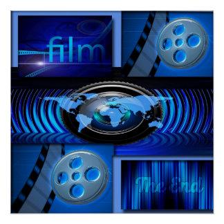 Blaue Film-Collage Poster