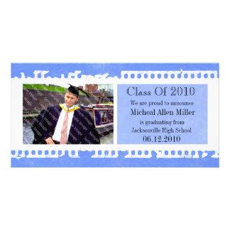 Blaue Filmgrunge-Abschluss-Foto-Karte Fotokartenvorlage