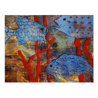 Blaue Fisch-Schule Postkarten