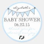 Blaue Flaggen-Baby-Abdruck-Dusche danken Ihnen Runder Aufkleber